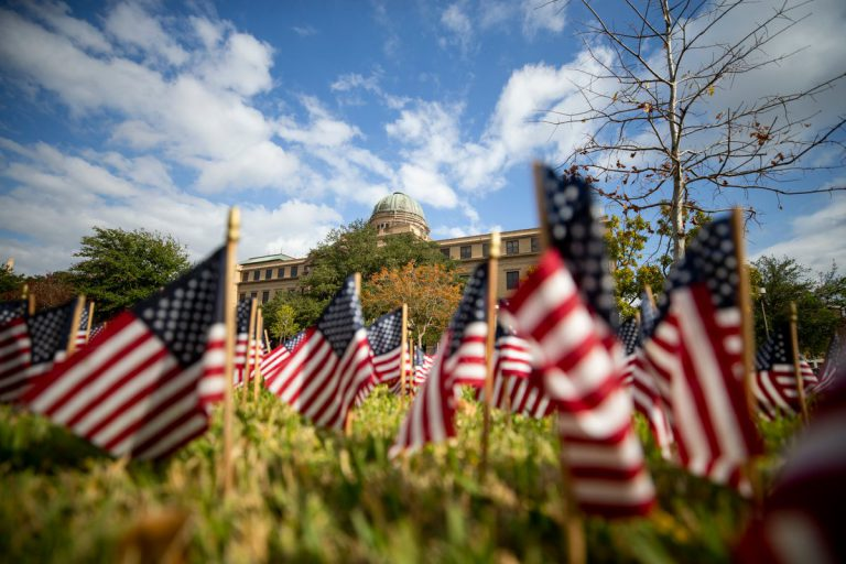Image of various miniature American flags on display in front of Academic building