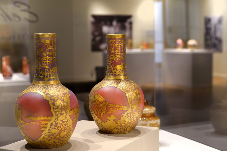 Image of two vase sculptures on display